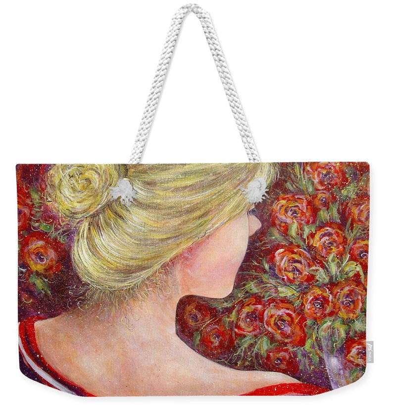 Female Weekender Tote Bag featuring the painting Red Scented Roses by Natalie Holland