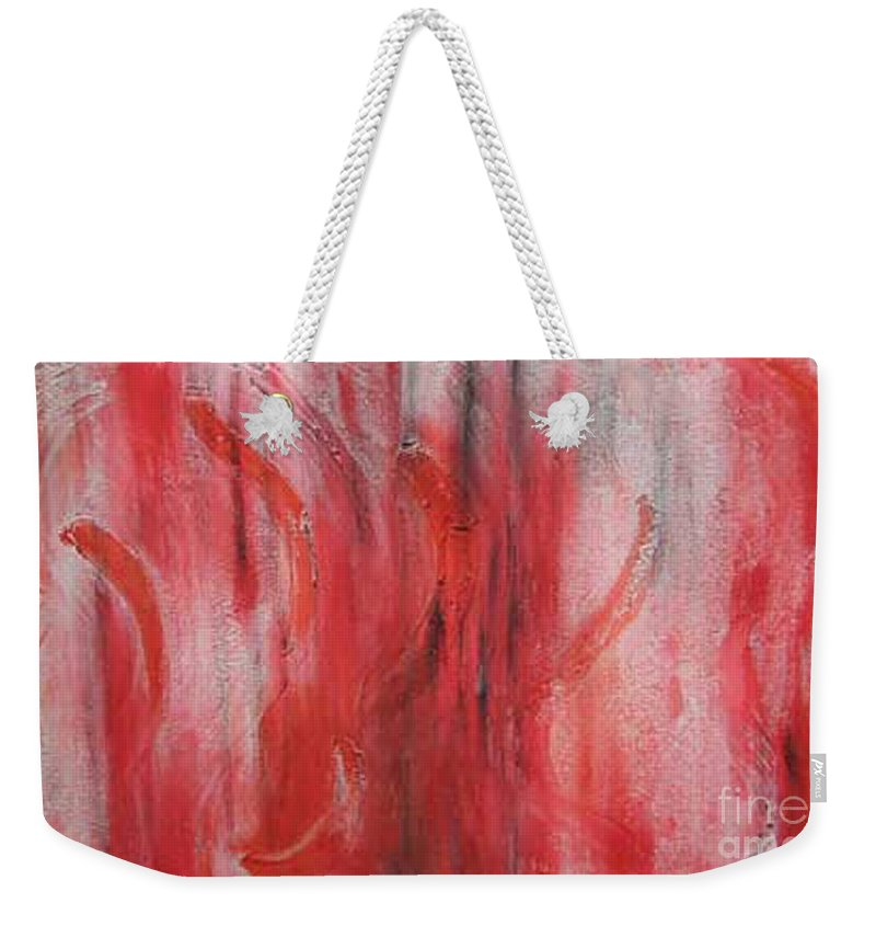 Abstract Weekender Tote Bag featuring the painting Red Sea by Silvana Abel