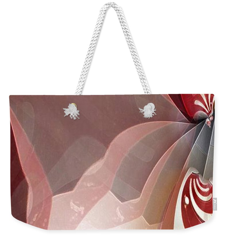 Abstract Weekender Tote Bag featuring the digital art Red Sheer by Ron Bissett