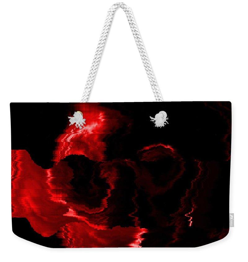 Red Weekender Tote Bag featuring the digital art Red Skull by Mechala Matthews