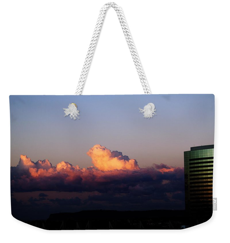 San Diego Weekender Tote Bag featuring the photograph Red Skys At Morn by Edward Hawkins II