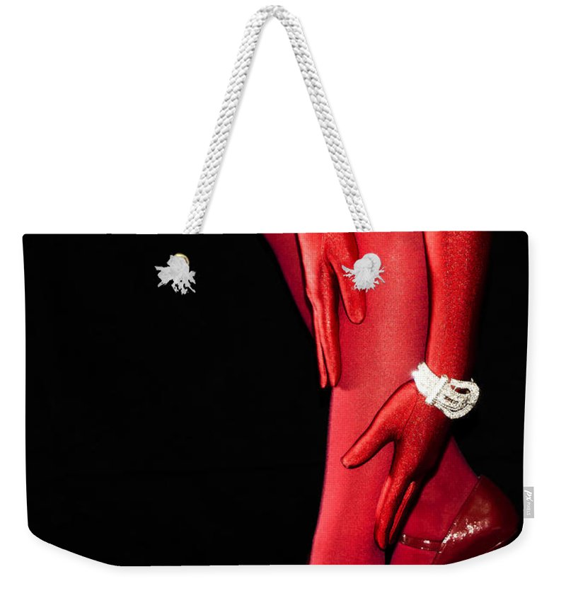 Stockings Weekender Tote Bag featuring the photograph Red Stockings02 by Svetlana Sewell