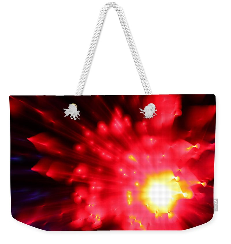 Abstract Weekender Tote Bag featuring the photograph Red Sun by Dazzle Zazz