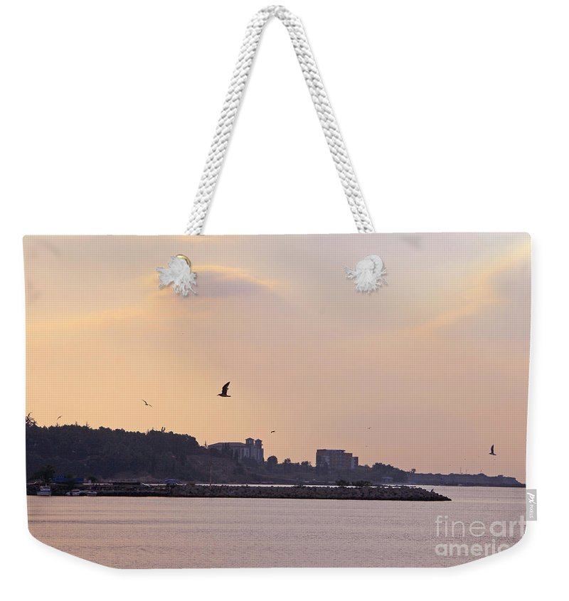 Nessebar Weekender Tote Bag featuring the photograph Red Sunset In Nessebar by Lali Kacharava