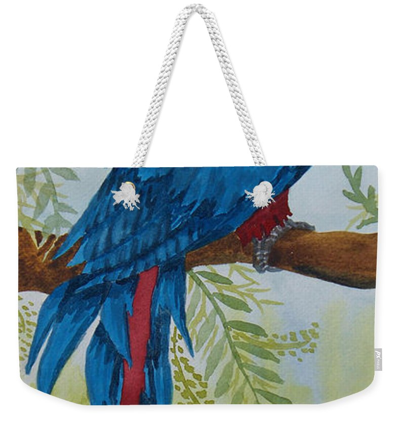 Bird Weekender Tote Bag featuring the painting Red Tail Macaw Too by Kathy Przepadlo