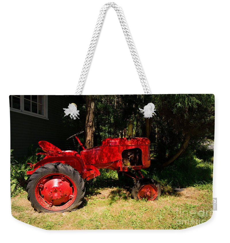 Bowen Island Weekender Tote Bag featuring the digital art Red Tractor by Carol Ailles