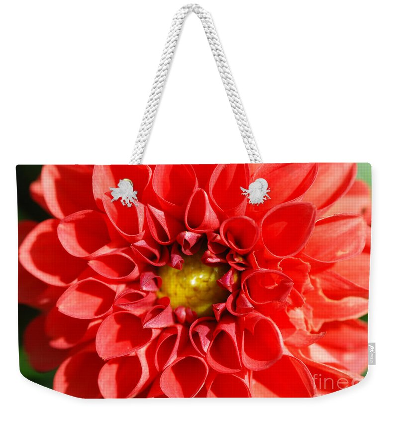 Ed Flower Weekender Tote Bag featuring the photograph Red Tubular Flower by Optical Playground By MP Ray