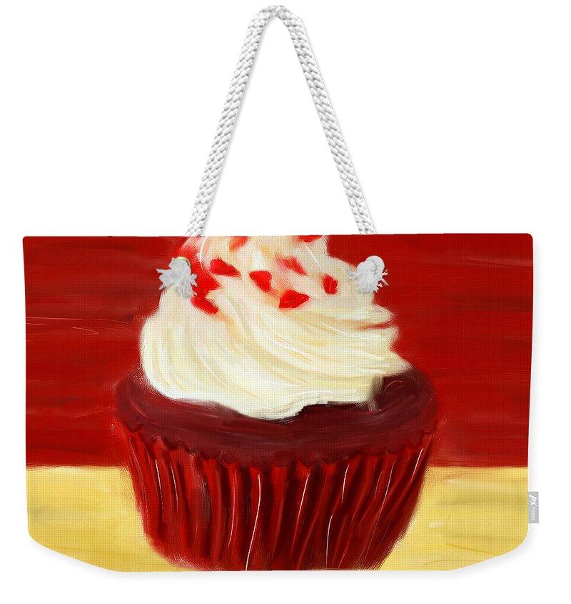 Cupcakes Weekender Tote Bag featuring the digital art Red Velvet by Lourry Legarde