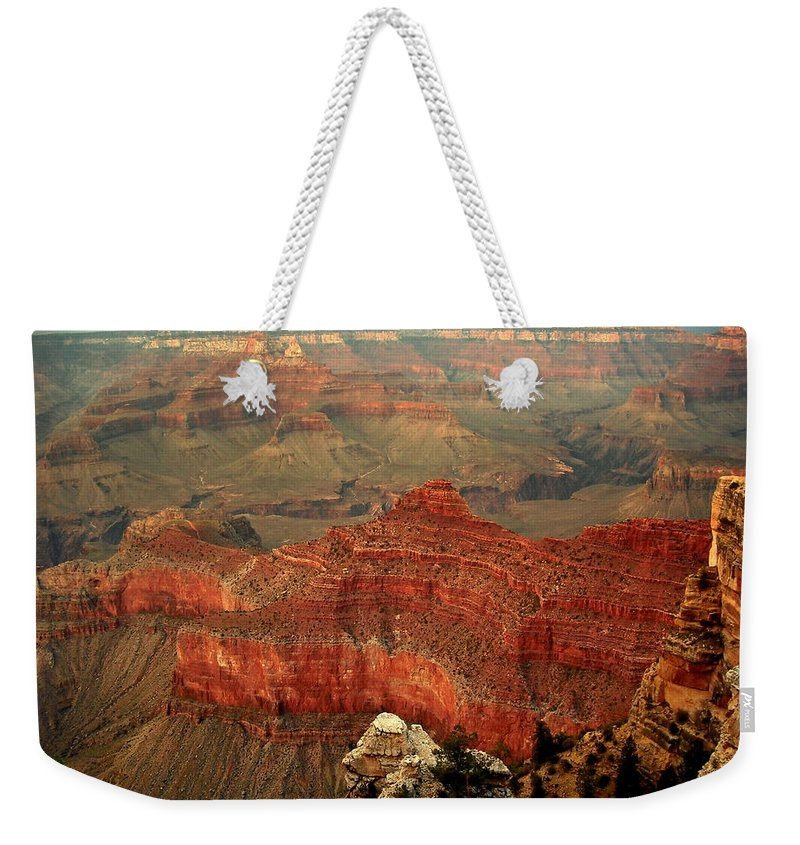 Grand Canyon Weekender Tote Bag featuring the photograph Red Vista by J Allen
