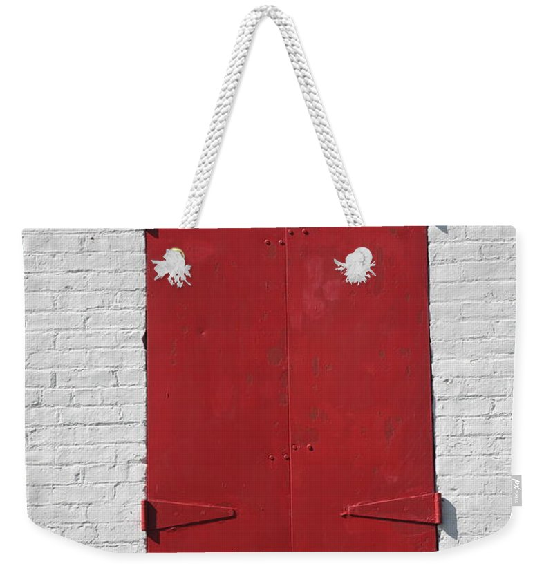 Architecture Weekender Tote Bag featuring the photograph Red Window by Frank Romeo
