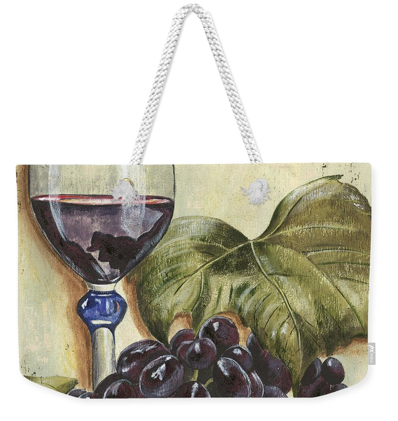 Wine Weekender Tote Bag featuring the painting Red Wine And Grape Leaf by Debbie DeWitt