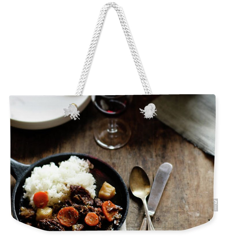 Spoon Weekender Tote Bag featuring the photograph Red Wine Braised Beef by 200