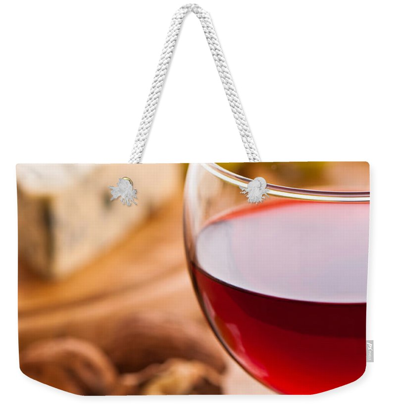 Red Weekender Tote Bag featuring the photograph Red Wine With Cheese by Amanda Elwell