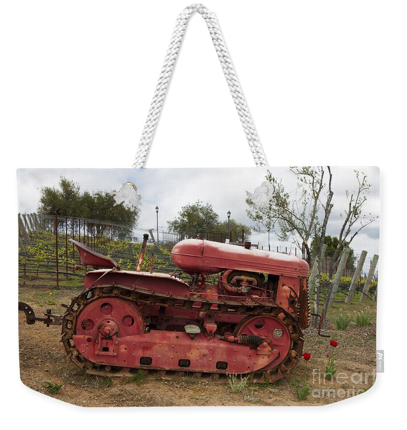 Tractor Weekender Tote Bag featuring the photograph Red Winery Tractor by Jason O Watson