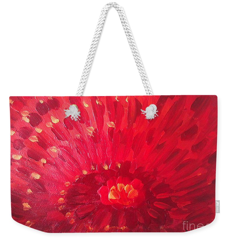 Abstract Weekender Tote Bag featuring the painting Red Zinnia by Holly Carmichael