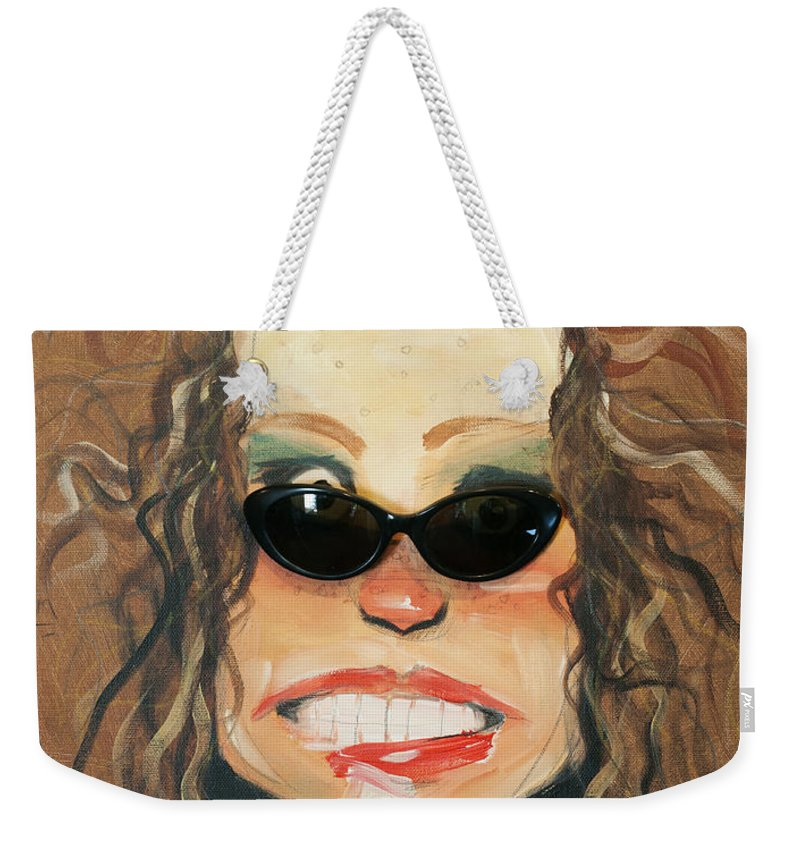 Sunglasses Weekender Tote Bag featuring the painting Ginger In Sunglasses by Tim Nyberg