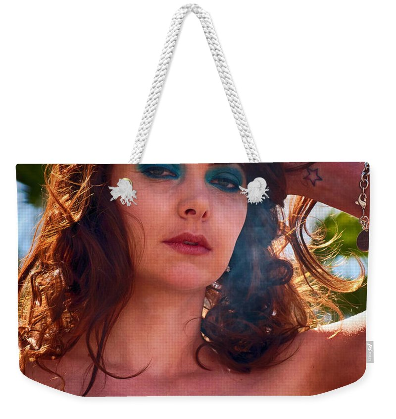 Woman Weekender Tote Bag featuring the photograph Redhead With A Star Tattoo by Les Palenik