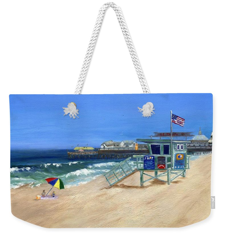 Redondo Beach Weekender Tote Bag featuring the painting Redondo Beach Lifeguard by Jamie Frier