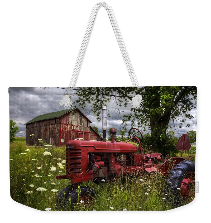 Appalachia Weekender Tote Bag featuring the photograph Reds In The Pasture by Debra and Dave Vanderlaan