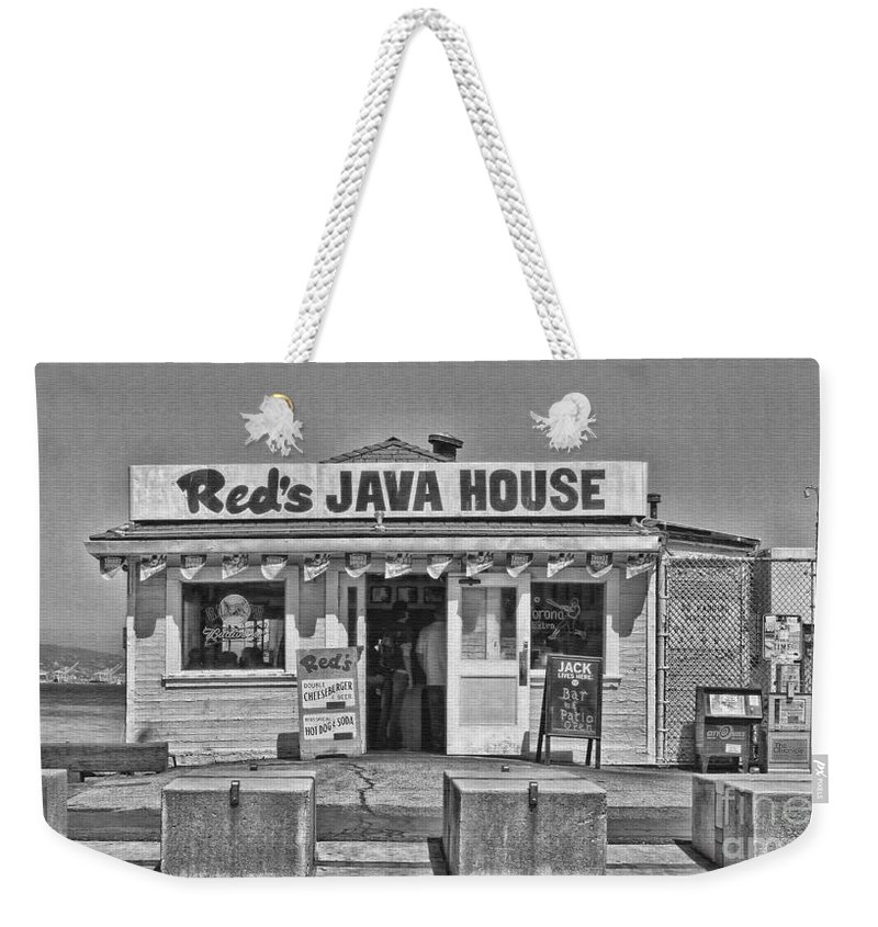 Red's Java House Weekender Tote Bag featuring the photograph Red's Java House San Francisco By Diana Sainz by Diana Raquel Sainz