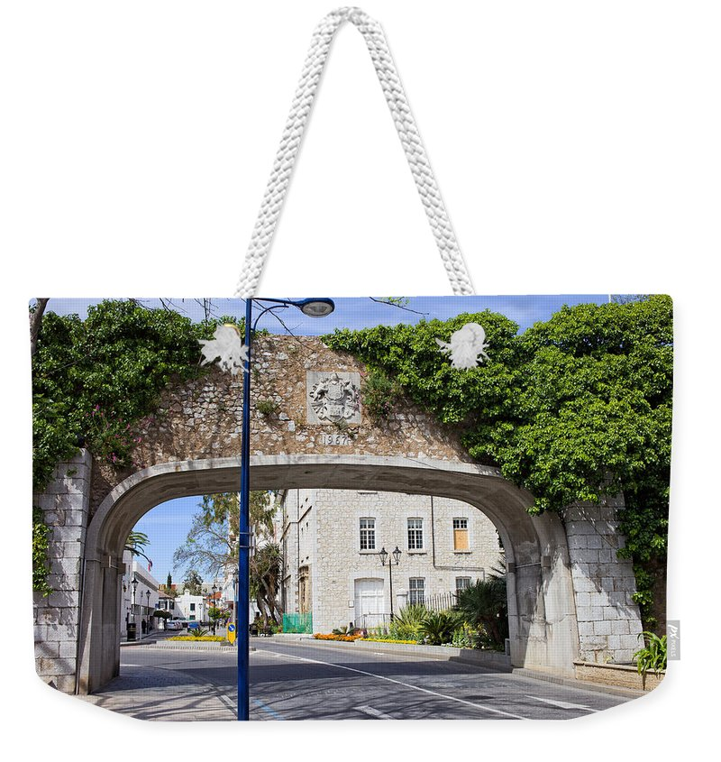 Gibraltar Weekender Tote Bag featuring the photograph Referendum Gate In Gibraltar by Artur Bogacki