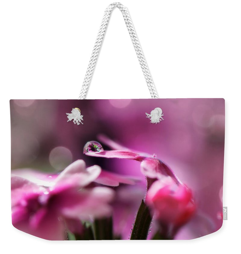 Water Drop Weekender Tote Bag featuring the photograph Reflecting On Pink by Lisa Knechtel