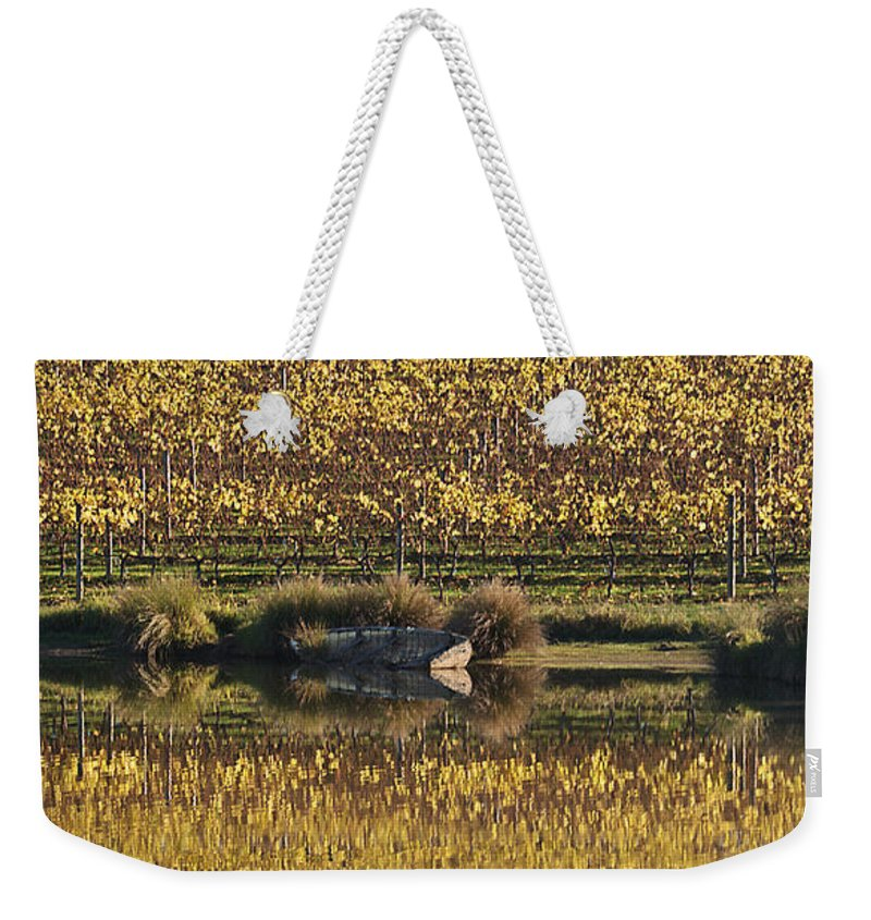 Joy Watson Weekender Tote Bag featuring the photograph Reflection-country-victoria by Joy Watson