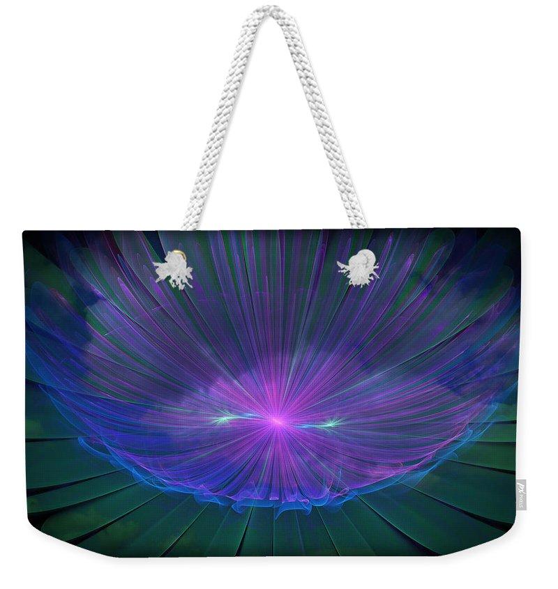 Fractal Weekender Tote Bag featuring the digital art Reflection by Rhonda Barrett