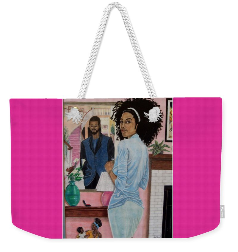Figurative Weekender Tote Bag featuring the painting Reflection To Matramony by Arron Kirkwood