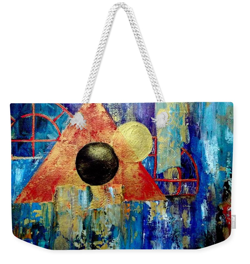 Abstract Weekender Tote Bag featuring the painting Reflections 1 by Cheryl Ehlers