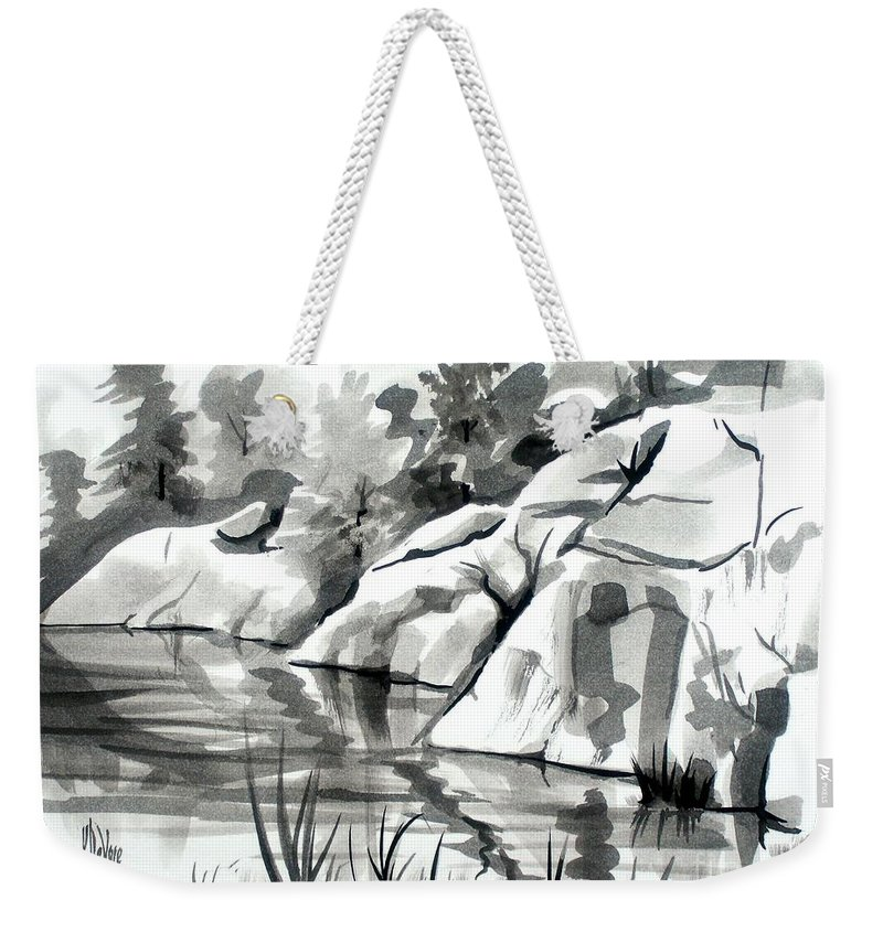 Reflections At Elephant Rocks State Park No I102 Weekender Tote Bag featuring the painting Reflections at Elephant Rocks State Park No I102 by Kip DeVore