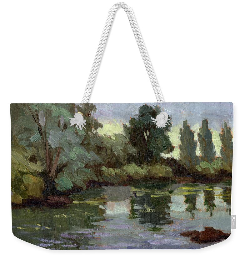 Washington Weekender Tote Bag featuring the painting Reflections Duwamish River by Diane McClary