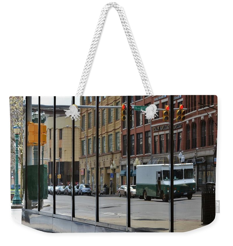 Street Scape Weekender Tote Bag featuring the photograph Reflections by Lisa Kane