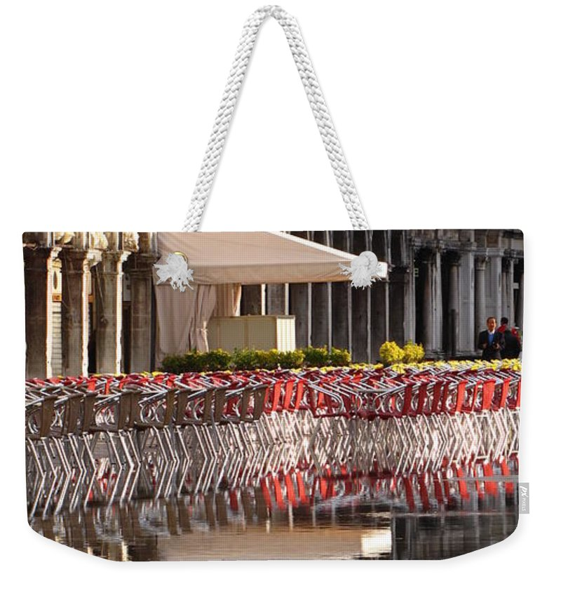 Saint Weekender Tote Bag featuring the photograph Reflections Of Saint Mark's Square -day by Jennifer Wheatley Wolf