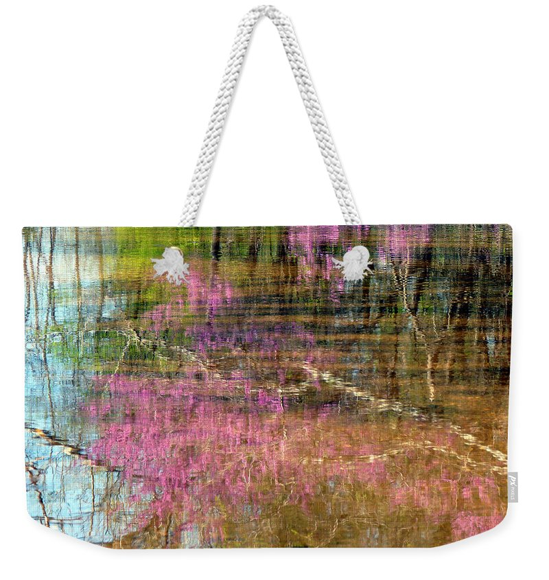 Landscape Weekender Tote Bag featuring the photograph Reflections Of Spring by Linda Shannon Morgan
