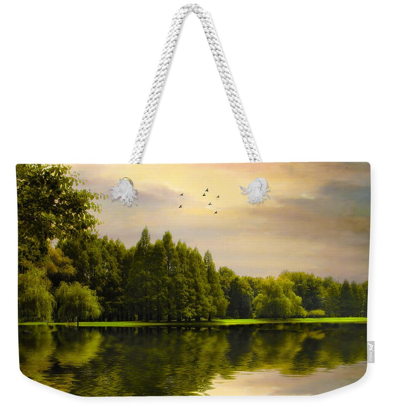 Landscape Weekender Tote Bag featuring the photograph Reflections Of Summer by Jessica Jenney