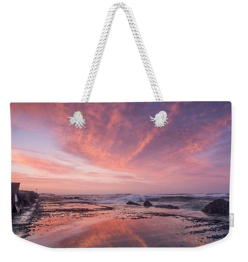North Jetty Weekender Tote Bag featuring the photograph Reflections On North Jetty Dusk by Greg Nyquist