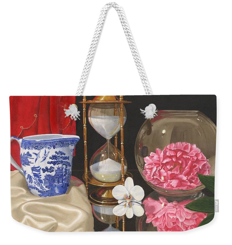 Still Life Weekender Tote Bag featuring the painting Reflections by Richard Harpum