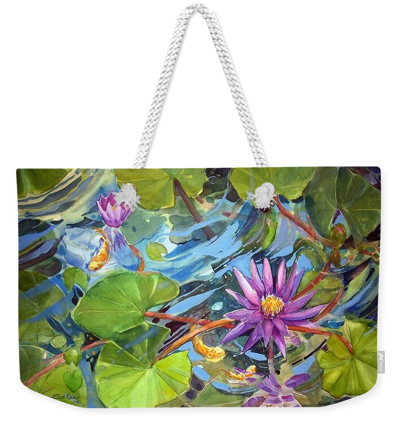 Waterlilies Weekender Tote Bag featuring the painting Reflections by Sue Kemp