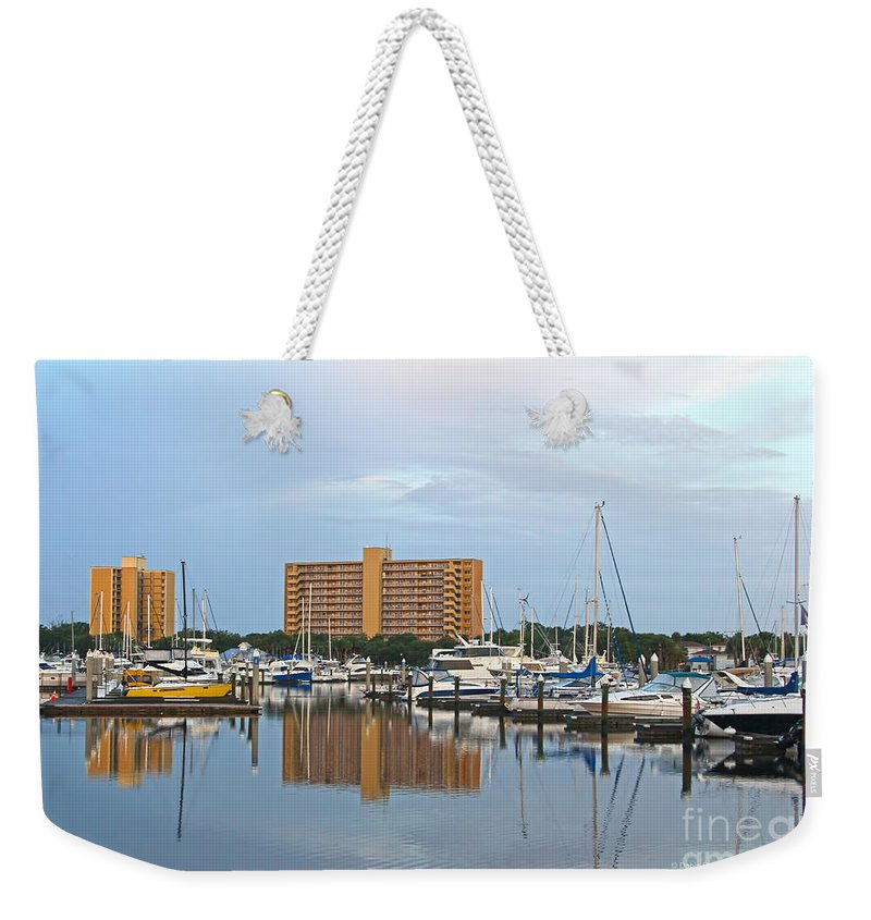 Landscape Weekender Tote Bag featuring the photograph Reflective Sunday Morning by Deborah Benoit