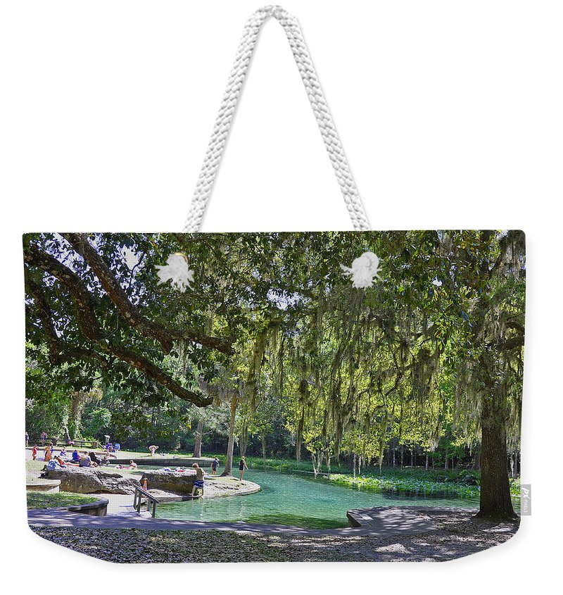 Landscapes Weekender Tote Bag featuring the photograph Refreshing Swim by Deborah Good