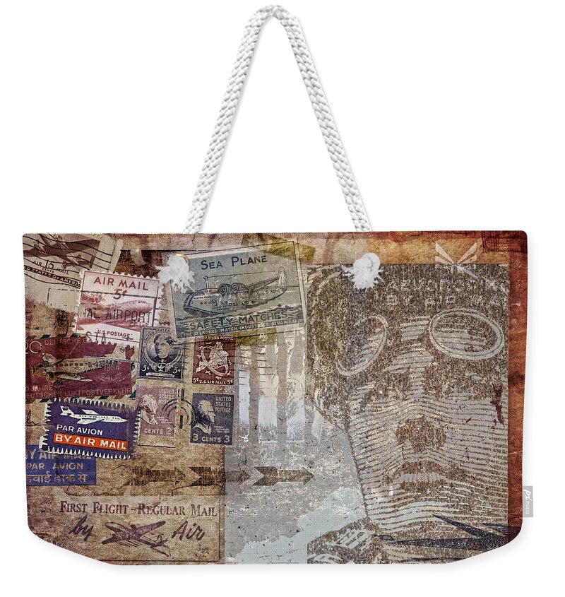 Post Card Weekender Tote Bag featuring the photograph Regular Mail By Air by Carol Leigh