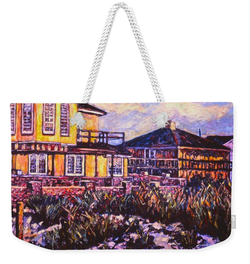 Landscape Weekender Tote Bag featuring the painting Rehoboth Beach Houses by Kendall Kessler