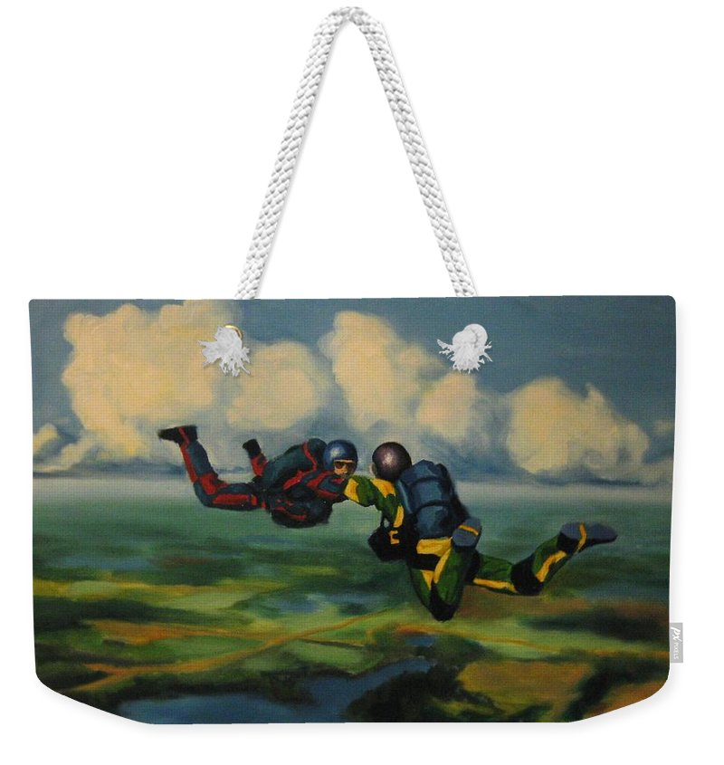 Skydivers Weekender Tote Bag featuring the painting Relative Work by John Malone