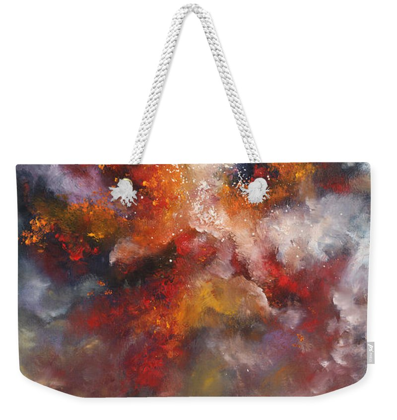 Oil Oils Abstract Abstracts Cloud Clouds Landscape Landscapes Sky Storm Stormy Weekender Tote Bag featuring the painting Remembrance by Christopher Lyter