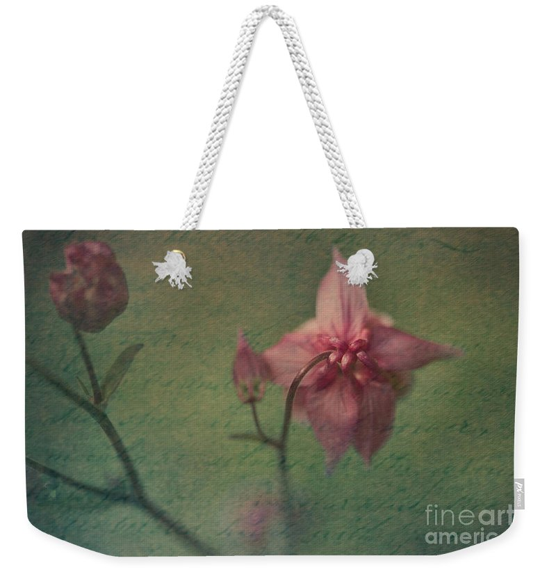 Pink Flower Weekender Tote Bag featuring the photograph Reminiscences by Liz Alderdice