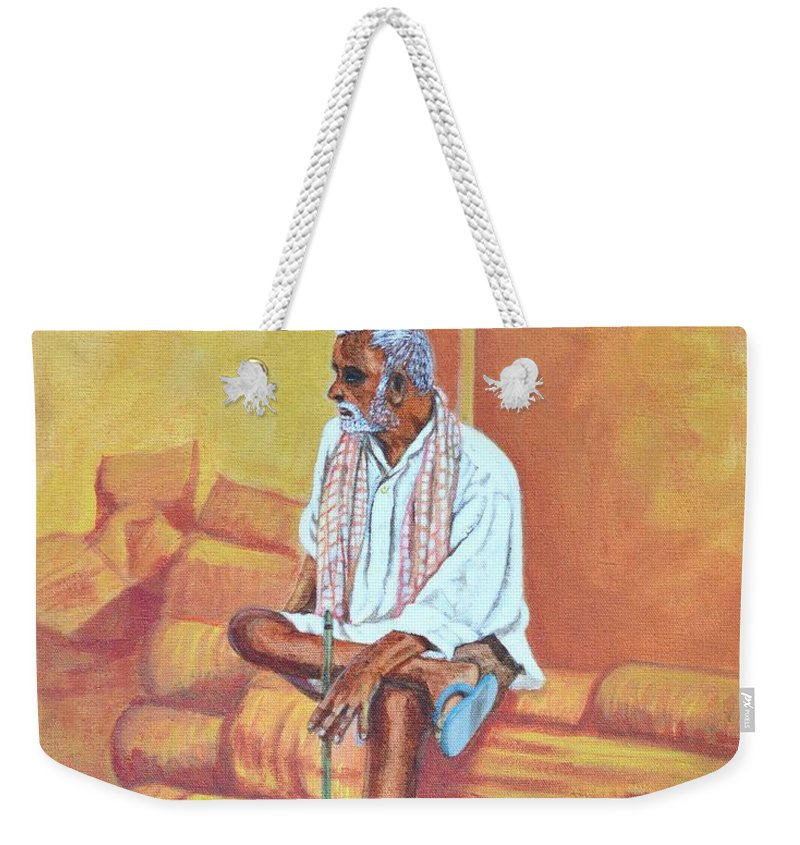 Usha Weekender Tote Bag featuring the painting Reminiscing by Usha Shantharam