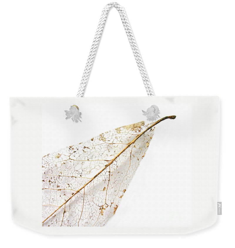 Leaf Weekender Tote Bag featuring the photograph Remnant Leaf by Ann Horn
