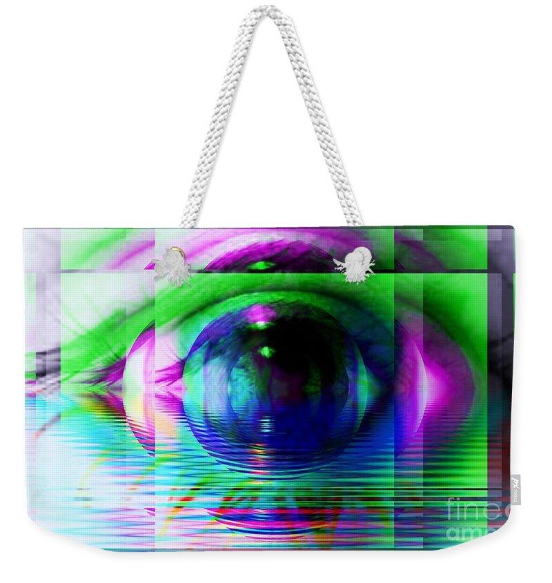 Fractal Art Weekender Tote Bag featuring the digital art Remote Viewing by Elizabeth McTaggart