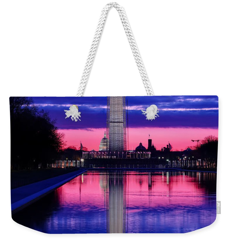 Metro Weekender Tote Bag featuring the photograph Repairing The Monument I by Metro DC Photography